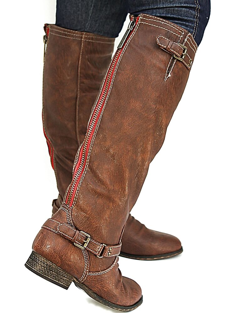 New Womens BO81 Red Zipper Tan Buckle Riding Knee High Boots USA ...