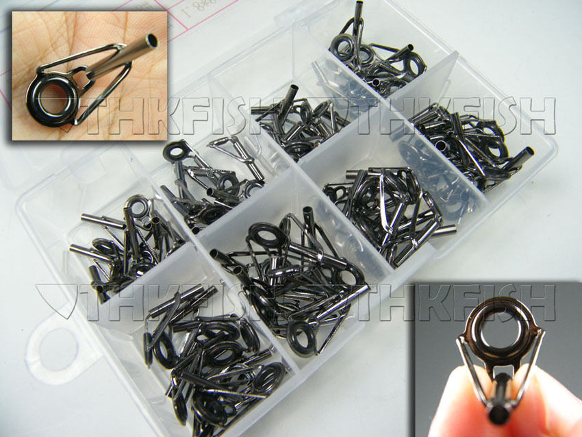 80x in box fishing rod parts tip tops black stainless for Fishing rod guides replacement