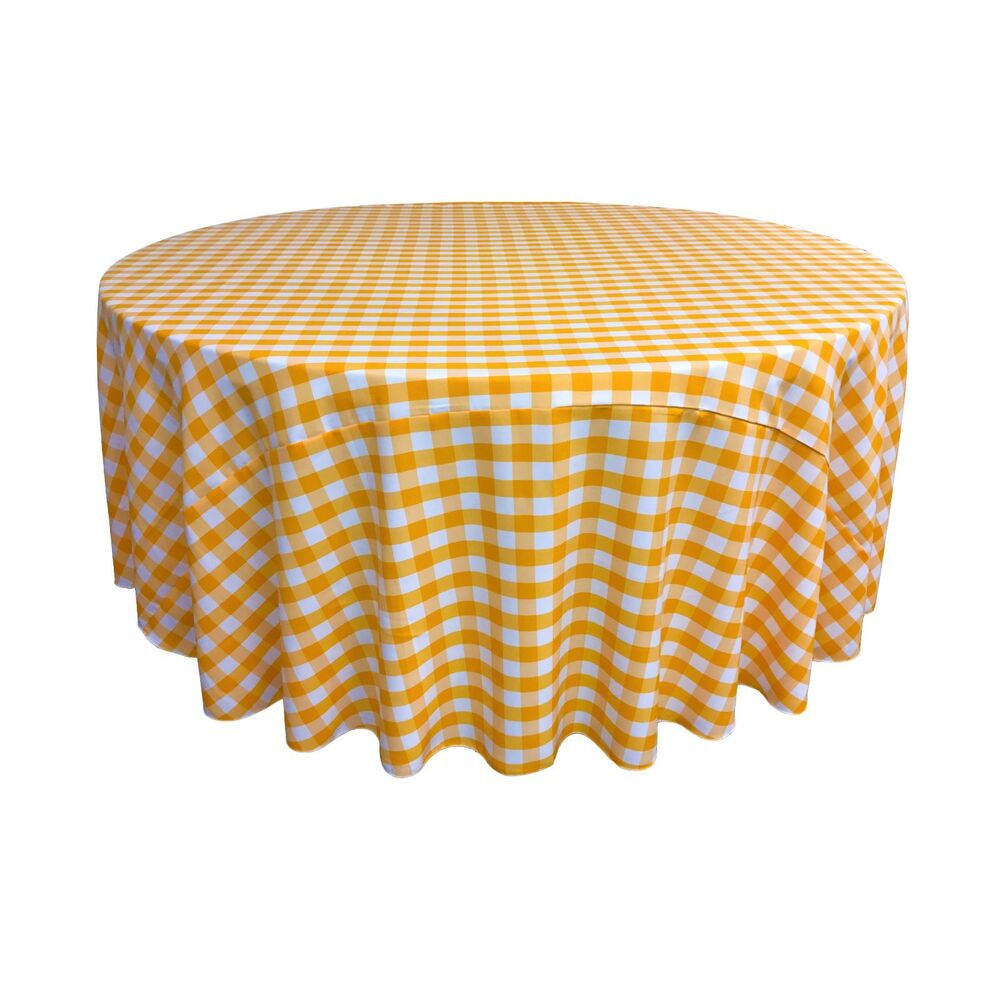 La linen polyester gingham checkered 120 inch round for Tablecloth 52 x 120