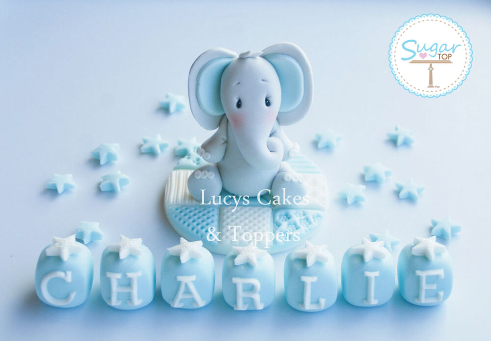 BOYS BLUE EDIBLE ELEPHANT CAKE TOPPER DECORATION SET ...