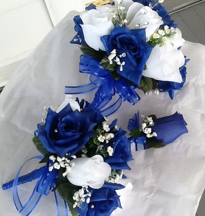 Royal Blue And Silver Wedding Flowers: Royal Blue Silver And White Bouquet Toss And Bout