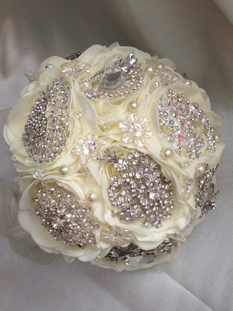 brooch bridal bouquet accessories peony rose design bride b maid buttonholes ebay. Black Bedroom Furniture Sets. Home Design Ideas