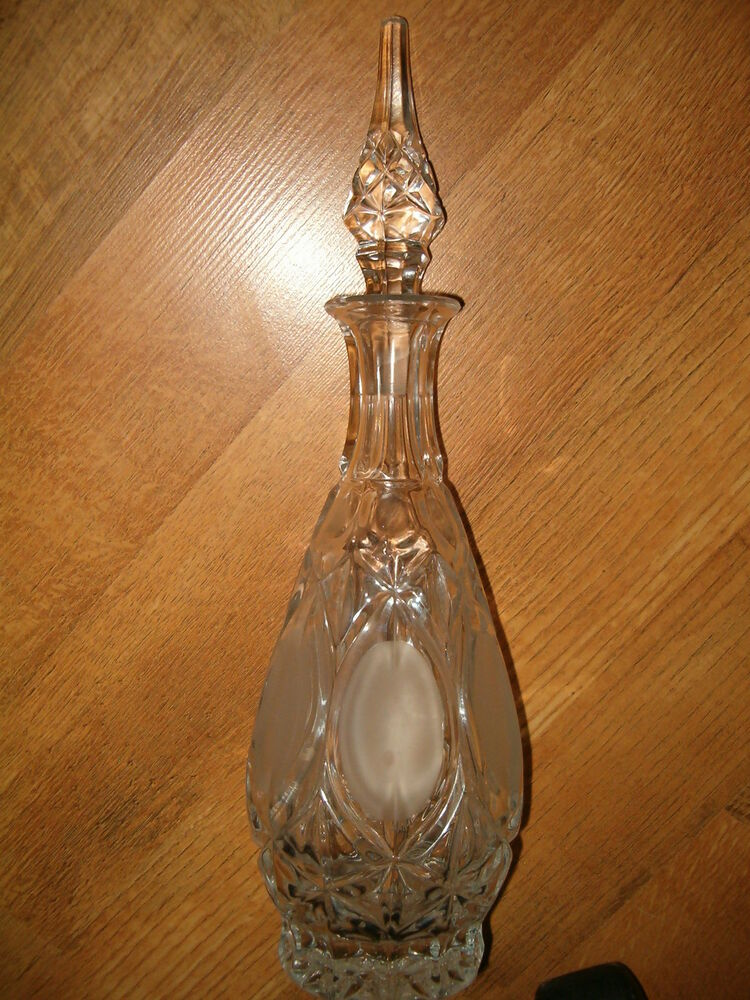 crystal cut glass liquor decanter decorative bottle approx 15 1 2 tall ebay. Black Bedroom Furniture Sets. Home Design Ideas