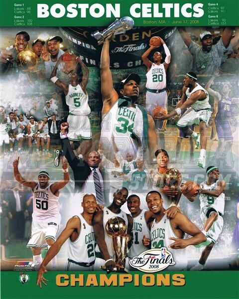 Boston celtics 07 08 champions collage pierce garnett 8x10 for 07 08 championship table