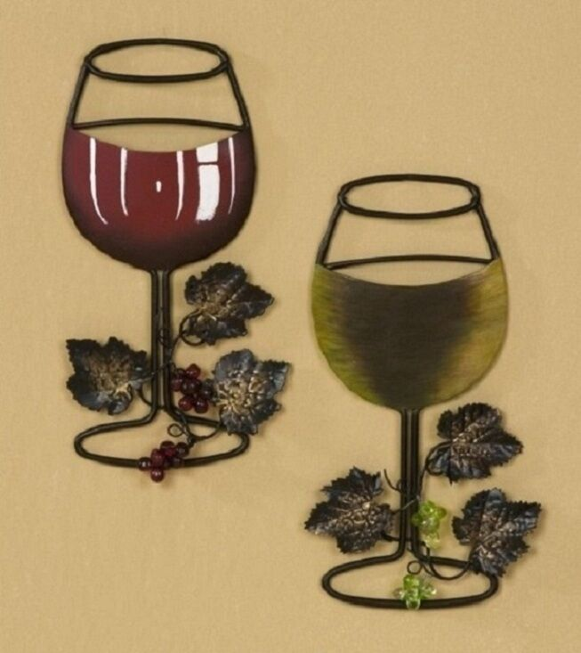 Metallic Wine Glasses : Red white wine glass with vine and grapes metal wall