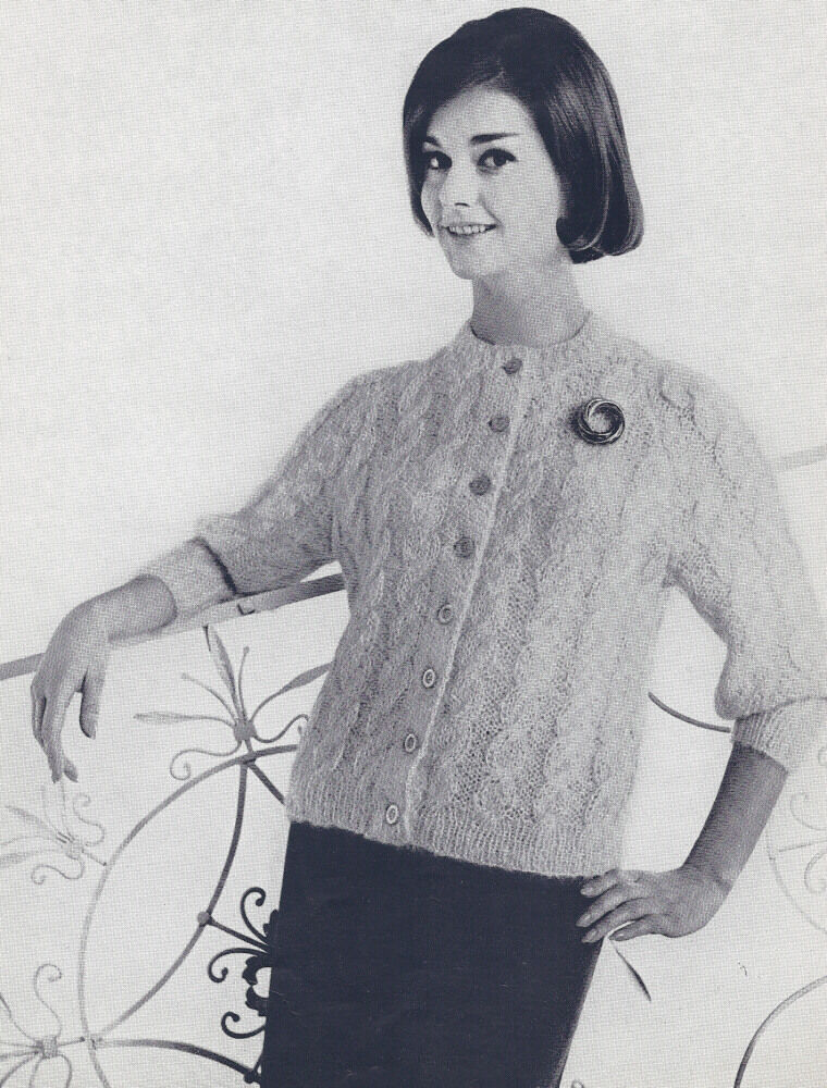 Vintage Knitting PATTERN to make 50s Mohair Cable Cardigan Sweater CableCardi...