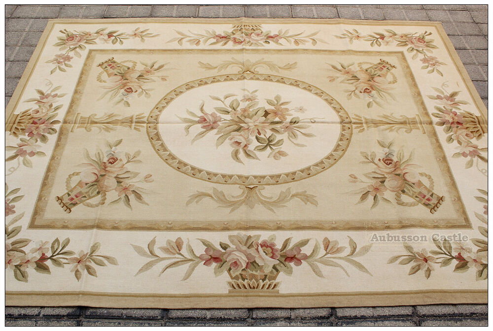 Pastel Gold Ivory Aubusson Rug Pink Rose Country French