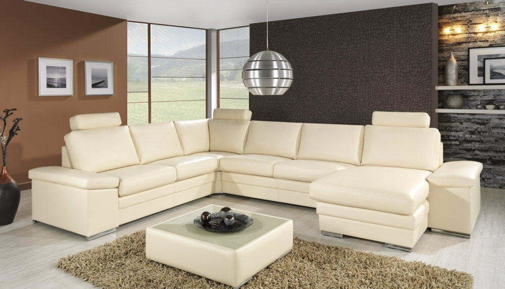 design luxus lounge sofa landschaft couch polster garnitur leder beige sl08 neu ebay. Black Bedroom Furniture Sets. Home Design Ideas
