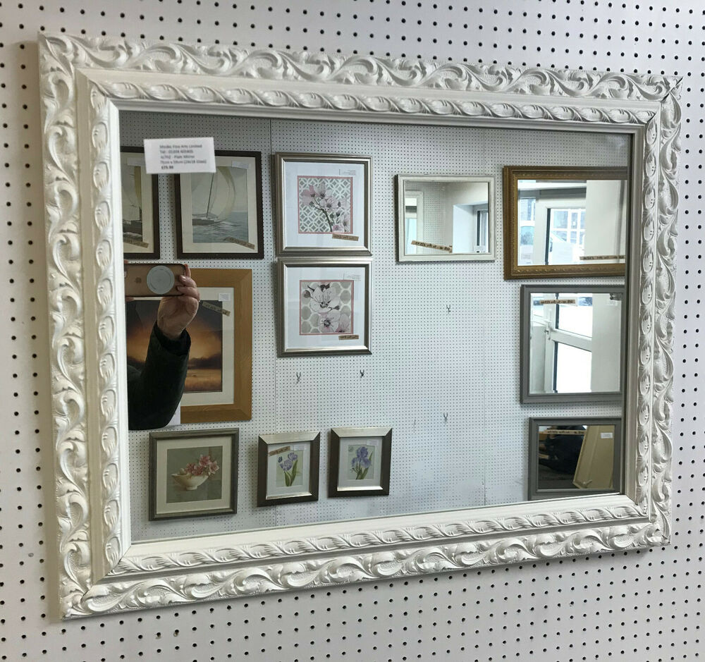 New large 3 ornate white shabby chic style framed for Large white mirror