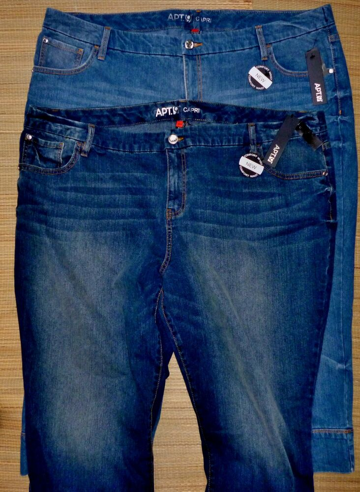 APT. 9 WOMENS PLUS SIZE COMFORT WAIST FADED STRETCH DENIM ...