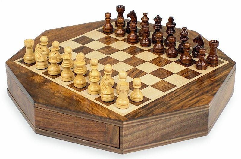 Personalised 7 Octagon Wooden Chess Set With Storage