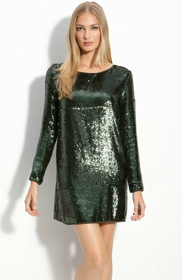 Haute hippie sequin green dress medium ebay for To have and to haute dress