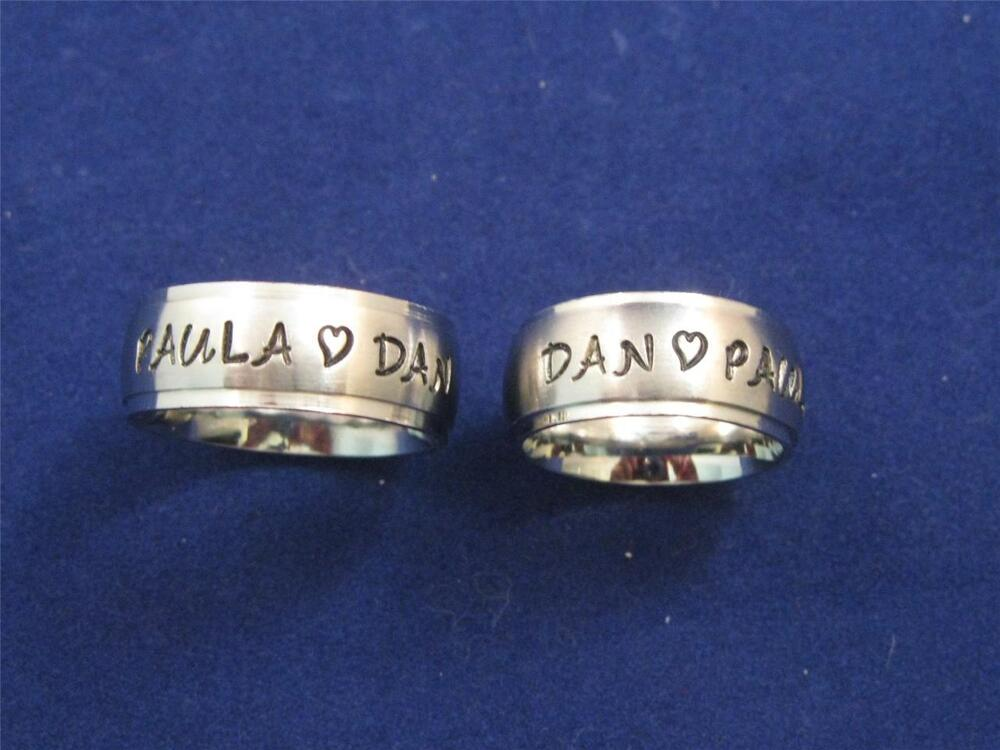 2 stainless steel 8mm personalized couples name ring bands. Black Bedroom Furniture Sets. Home Design Ideas