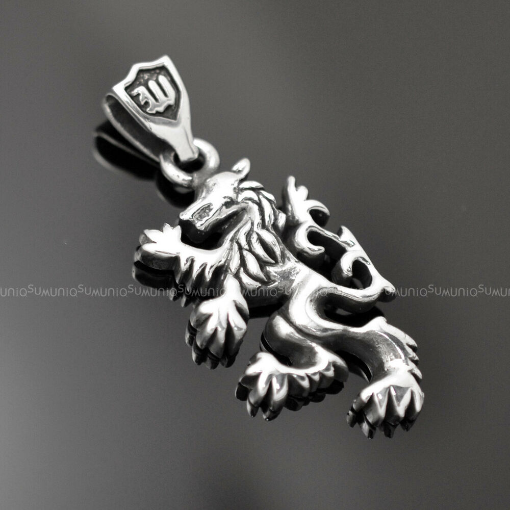 wolf 925 sterling silver charms mens necklace pendant ebay. Black Bedroom Furniture Sets. Home Design Ideas
