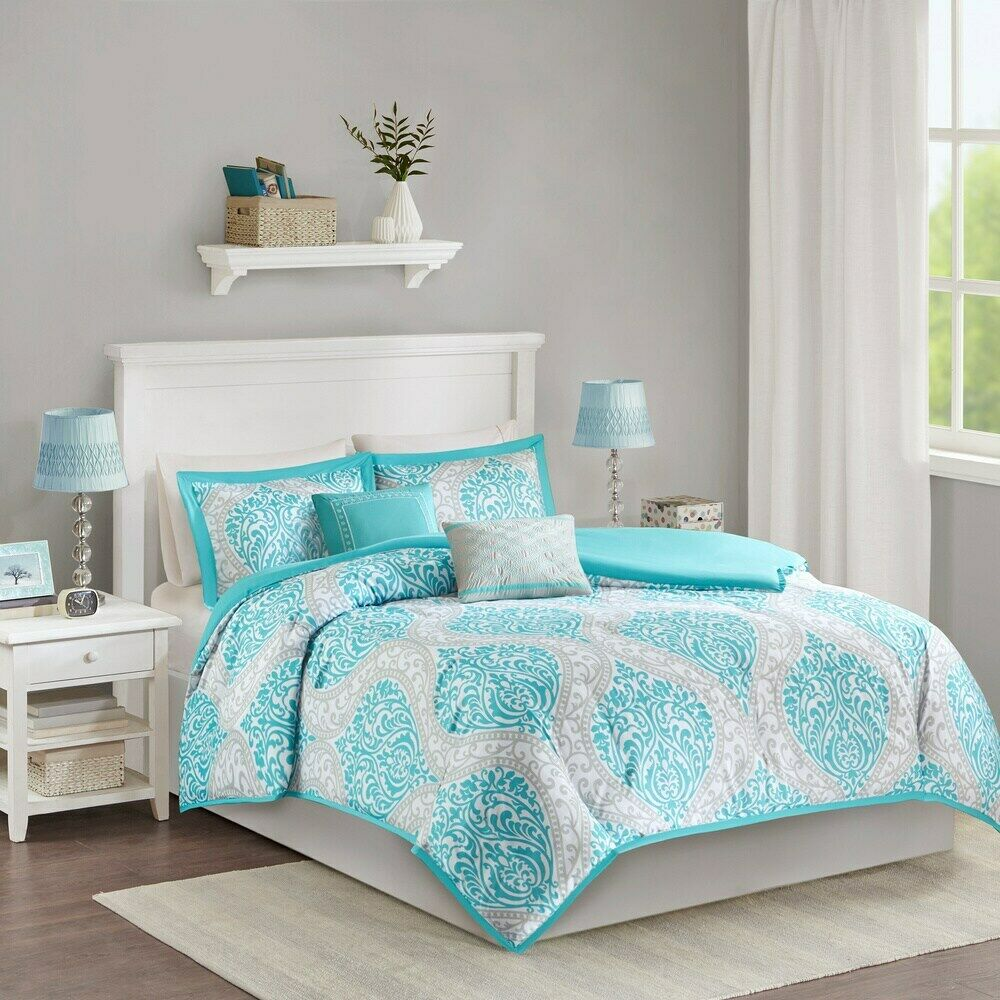 beautiful chic black white grey floral modern comforter set 8pc cal king queen ebay. Black Bedroom Furniture Sets. Home Design Ideas