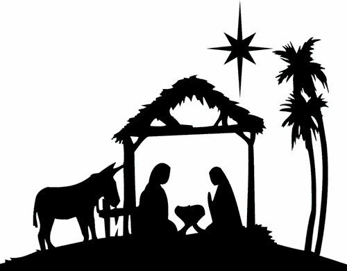 XMAS Die Cut Silhouette - Nativity and Donkey x 6 Card ...
