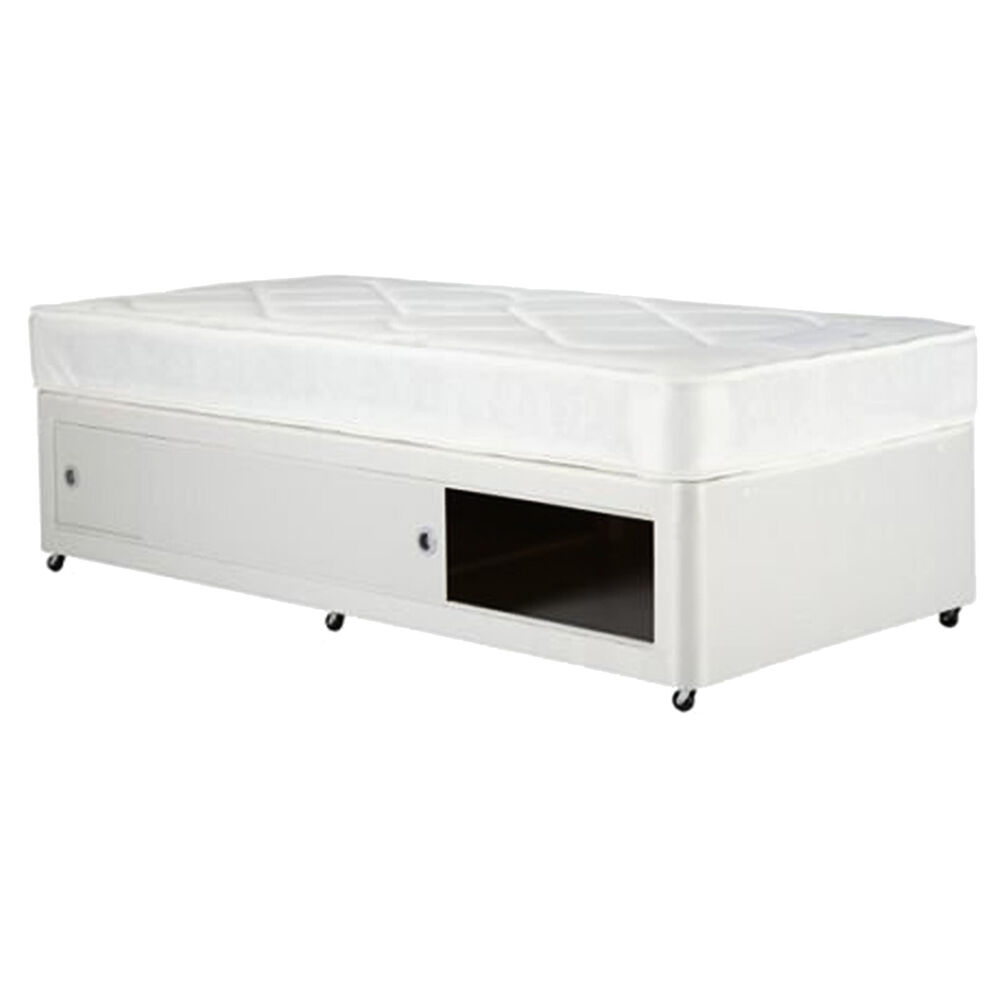 Single small single faux leather divan base many colours for Single divan bed base with storage