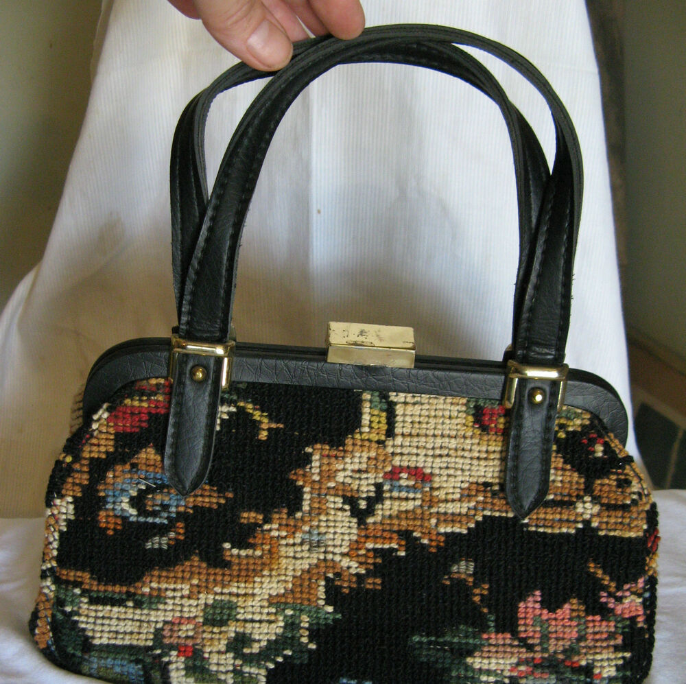 Vintage 1950 S 60 S Jaclyn Tapestry Carpet Bag Hiippie
