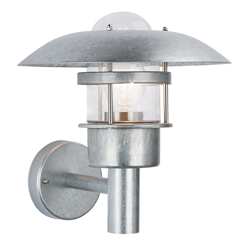 Modern Silver Galvanised Exterior Outdoor Garden Wall Light Fishermans Lantern eBay