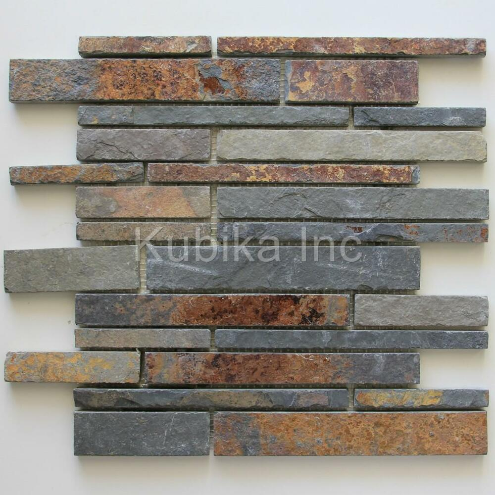 Stone mosaic tile kitchen backsplash multicolor slate ebay Backsplash mosaic tile