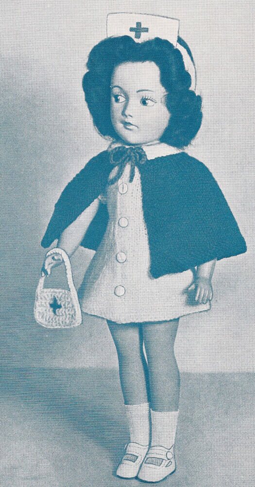 Knitting Pattern Dolls Cape : Vintage Knitting PATTERN Doll Clothes Red Cross Nurse Dress Cape Mary Hoyer 1...