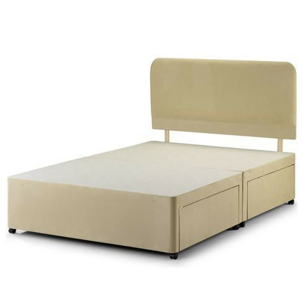 Suede divan base double single super king size for Double divan base with drawers