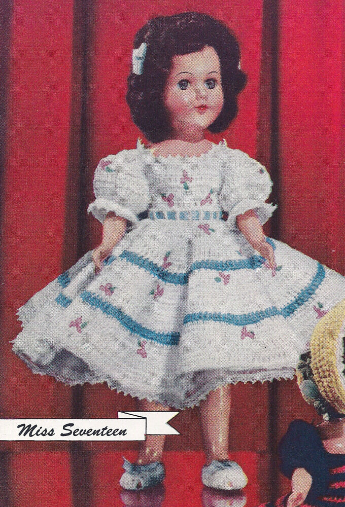 Vintage Crochet Pattern 11 Inch Doll Clothes Dress Petticoat Panties