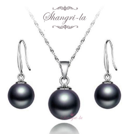 Stamped 925 Sterling Silver Round Black Pearl Necklace