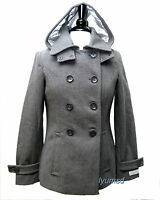 NWT  Women's CALVIN KLEIN Grey Wool Blends  Hooded Peacoat