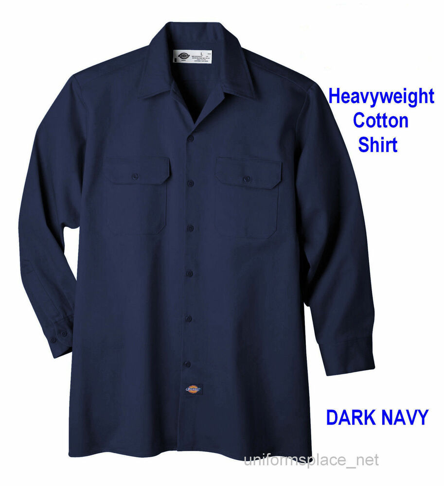 Dickies Work Shirts Mens Long Sleeve Heavy Weight Cotton