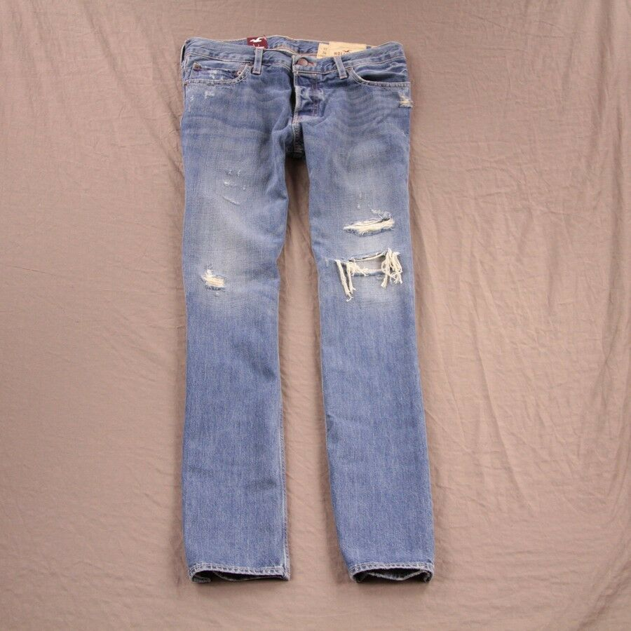 Hollister Mens Huntington Destroyed Jeans Slim Straight by ...