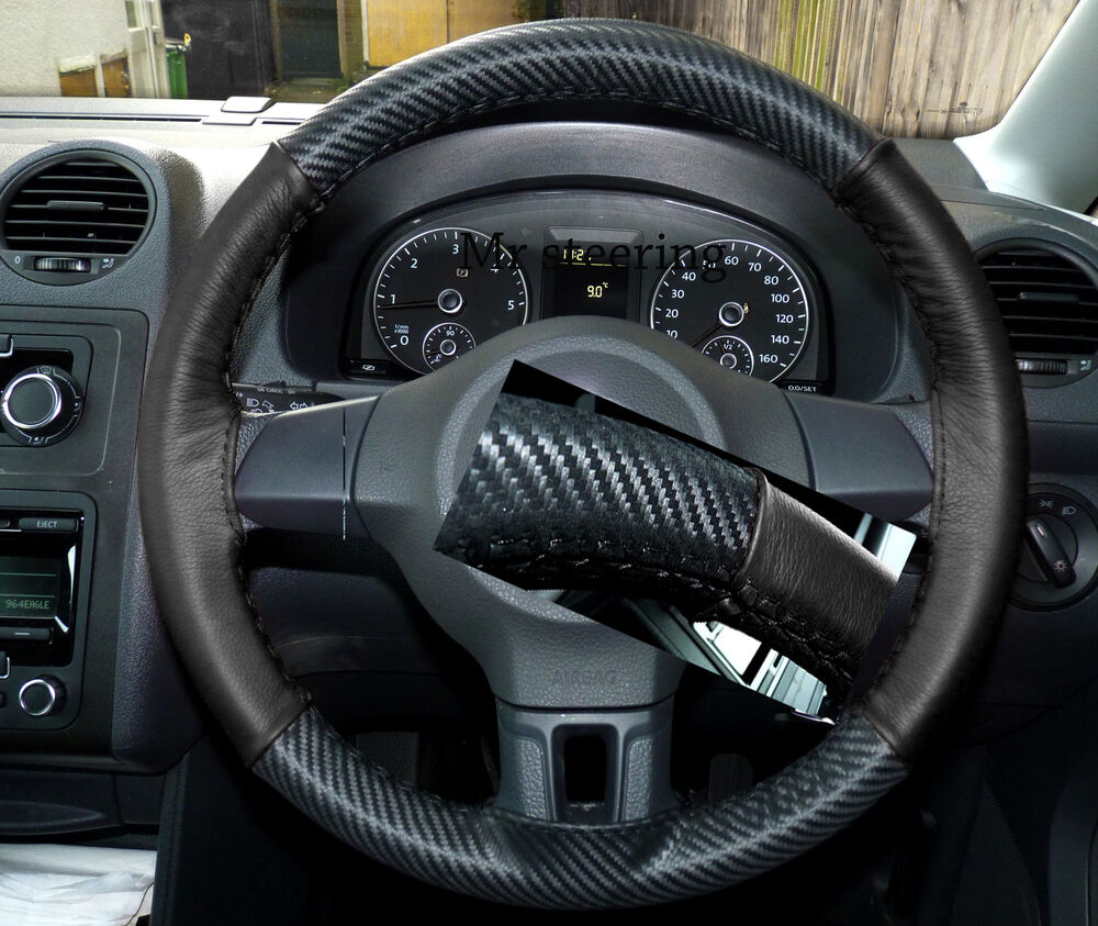 Fits Vw Golf Mk6 Carbon Fibre Amp Black Leather Steering Wheel
