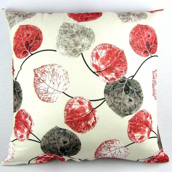 Red Grey Leaves Throw Pillow Case Decor Cushion Cover