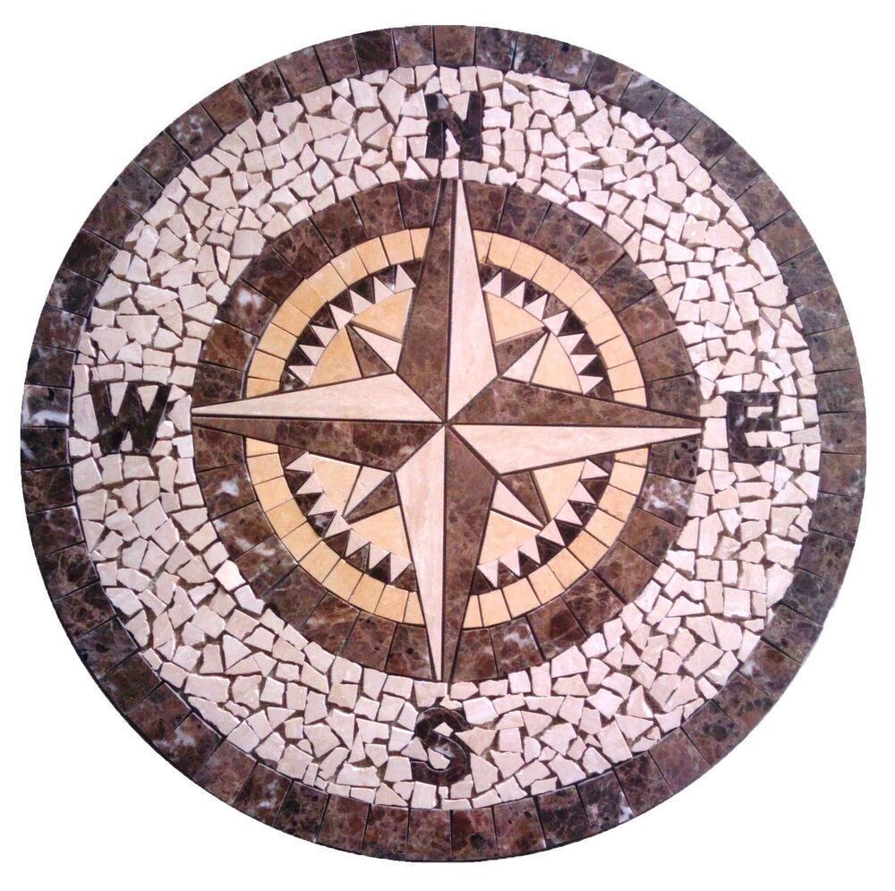 Compass Rose Floor Tile : Floor marble medallion compass rose tile mosaic