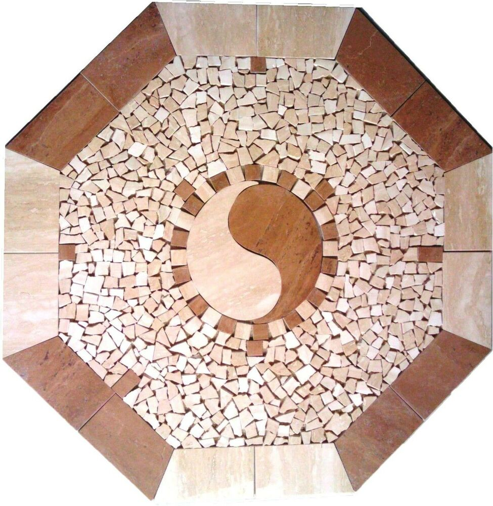 Floor Marble Medallion Ying Yang Travertine Tile Mosaic 24