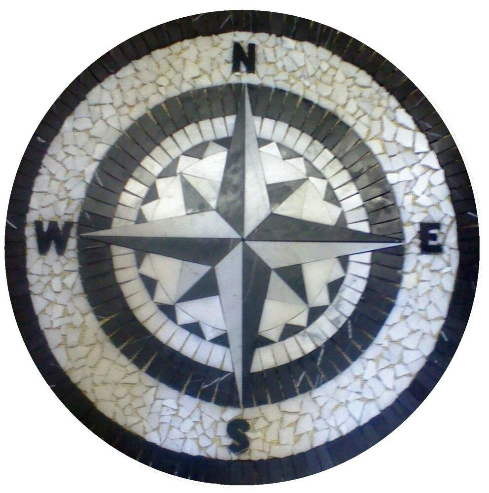 Compass Floor Tile : Floor marble medallion black and white compass rose tile
