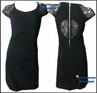 New WALLIS Size 8 - 18  Black Soft Touch Brushed / Lace Details Party Dress