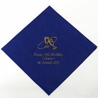 100 personalised Birthday napkins. Perfect for buffet 3 lines text + motif