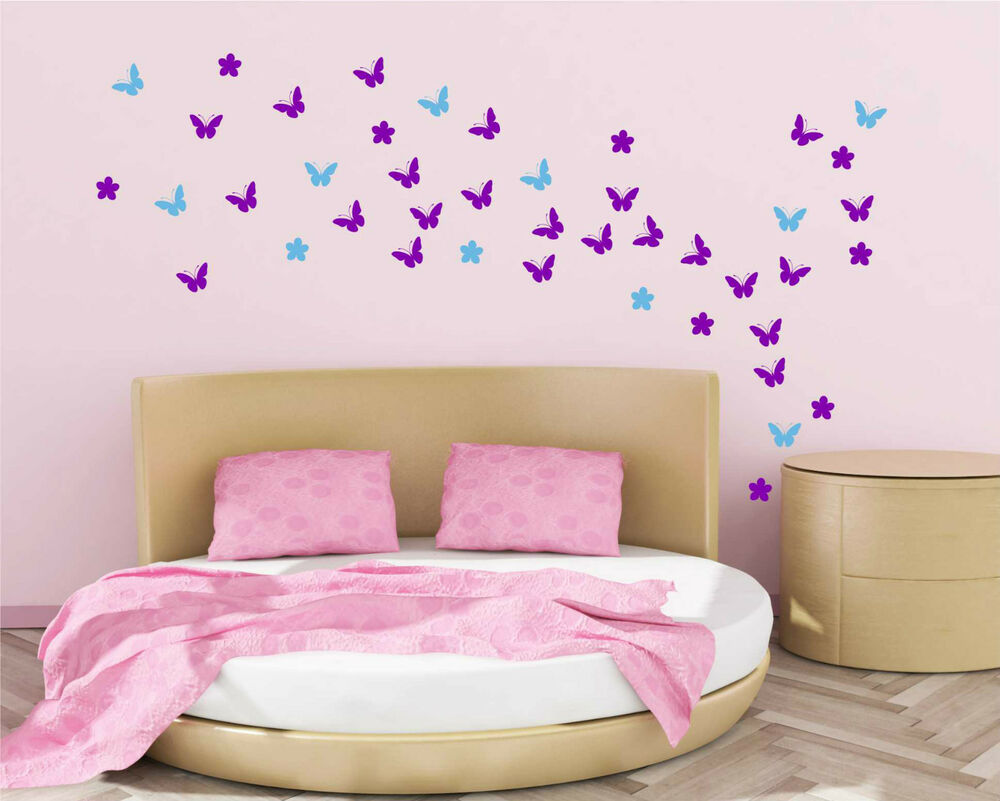54 butterfly with flowers wall stickers up to 54 vinyl art for Butterfly design on wall