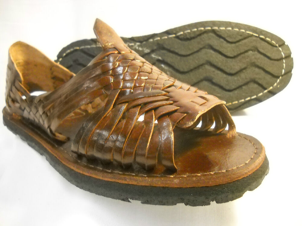 new WOMENS brown LEATHER MEXICAN SANDAL HUARACHE LADIES w/tire sole *ALL SIZES | eBay
