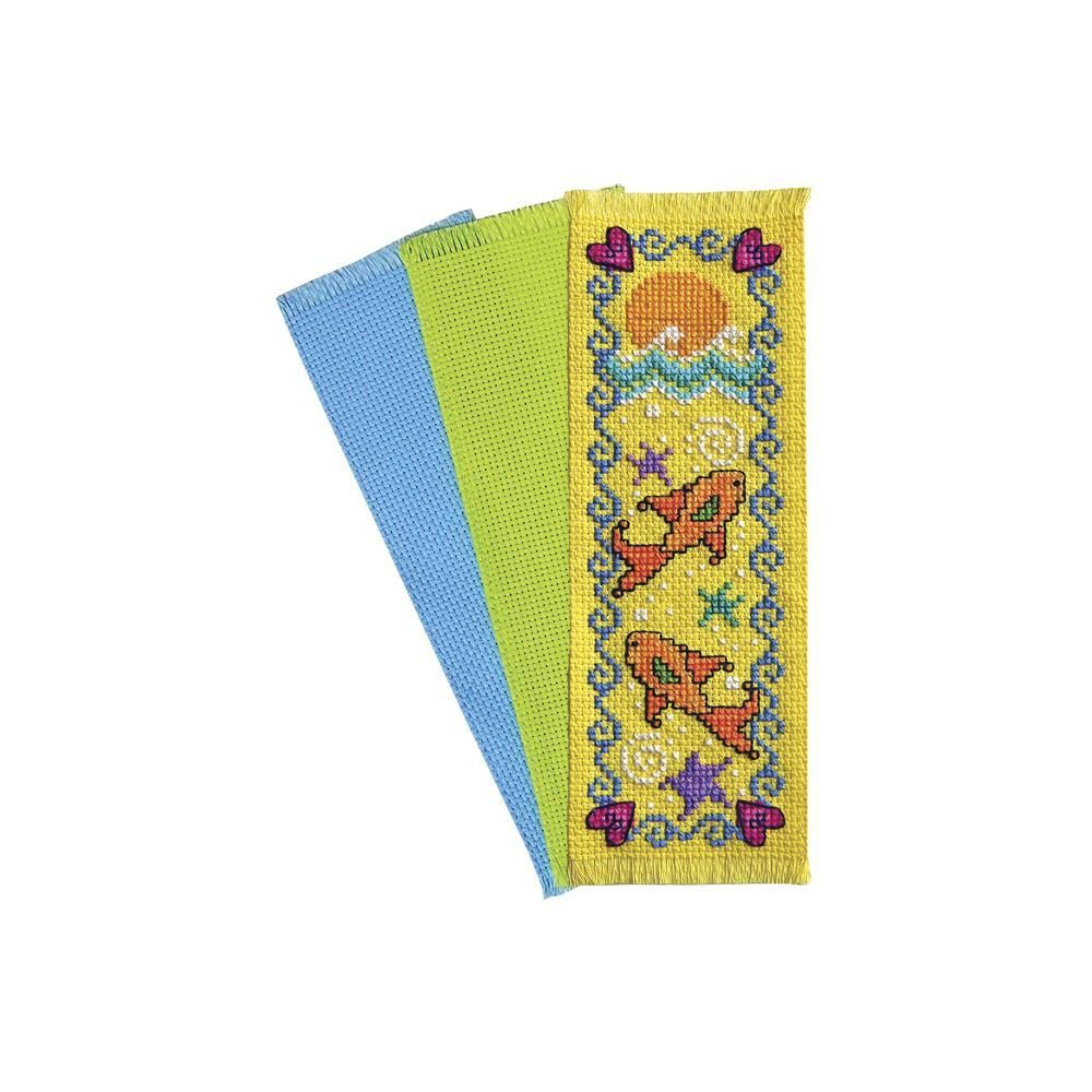 Charles craft 14 count brights bookmarks grasshopper for Charles craft cross stitch fabric
