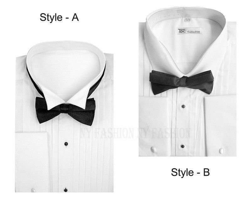 Men 39 s tuxedo dress shirt wing collar with bow tie set for Mens shirt collar styles