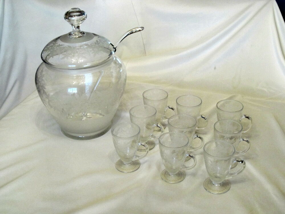 antique engraved cut blown glass punch bowl set ebay. Black Bedroom Furniture Sets. Home Design Ideas