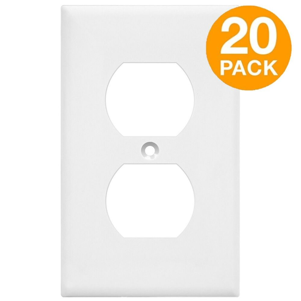 Metal Electrical Outlet Covers Oversized Outlet Covers: 20 Pack Duplex Receptacle Wall Plate 1-Gang Unbreakable