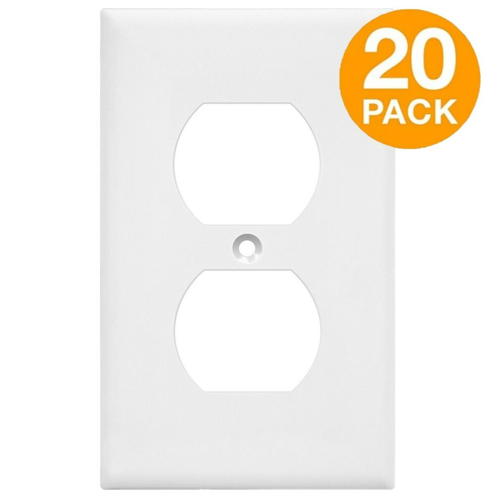 20 pack duplex receptacle wall plate 1 gang unbreakable outlet cover white ebay. Black Bedroom Furniture Sets. Home Design Ideas