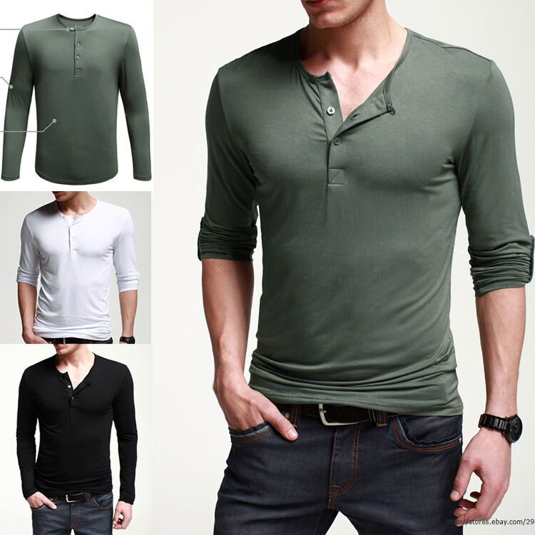 Fitted mens basic tee henley shirt long sleeve t shirt for Long sleeve fitted tee shirt