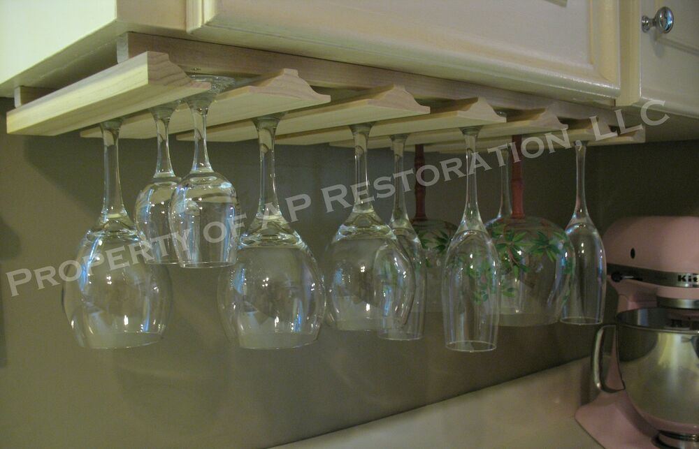 Ikea Under Cabinet Glass Rack ~ Multiple Wine Glass or Stemware  Wood Rack Holder  Under Cabinet