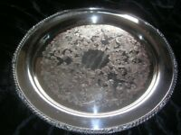 """Vintage/Antique 14"""" EPC Silver Silverplate Tray/Platter Stamp of horse & 3 Birds"""