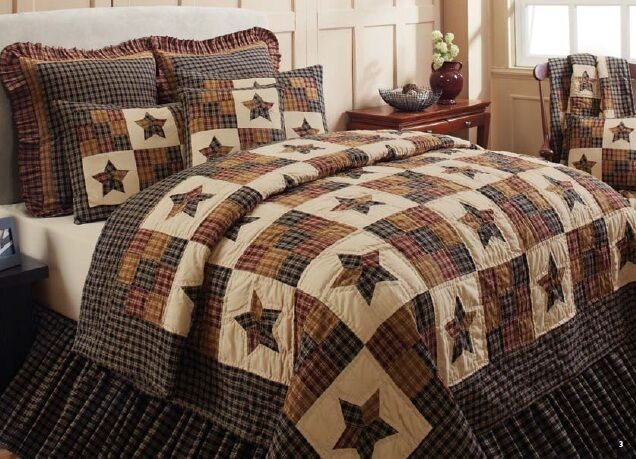 Country Bedding Sets Queen: 5 PC Queen Cambridge Star Quilt Set Primitive Country