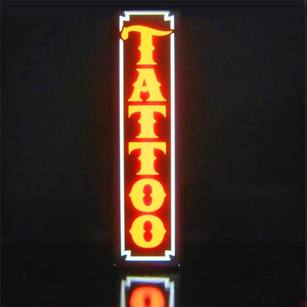 New led tattoo shop parlor orange vertical sign light box for Neon tattoo signs